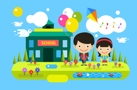 Back to school background. Cute vector cartoon boy and girl playing near school building. School uniform, university building, preschool and education, small kids, teens,  smile face, people silhouette, abstract people kids. Welcome to school background.