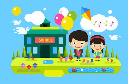 scuola: Torna a scuola sfondo. Carino vettore cartoon ragazzo e ragazza giocando vicino edificio scolastico. Scuola uniforme, edilizia universitaria, scuola materna e l'istruzione, bambini piccoli, ragazzi, sorriso faccia, persone silhouette, persone astratto bambini. Benvenuti a scuola sfondo. Vettoriali