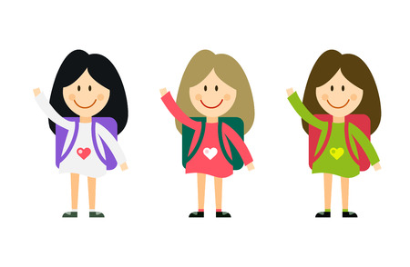 welcome smile: Vector cute cartoon girl with school uniform isolated on white. Back to school background. School uniform, university, preschool and education, small kids, teens,  smile face, people silhouette, abstract people kids. Welcome to school background.