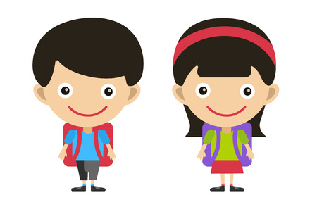 bag cartoon: Vector cute cartoon boy and girl with school uniform isolated on white. Back to school background. School uniform, university, preschool and education, small kids, teens,  smile face, people silhouette, abstract people kids. Welcome to school background. Illustration