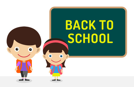 class room: Back to school background.  Cute vector cartoon boy and girl staying near class room board. School uniform, university, board and chalk, preschool and education, small kids, teens, smile face, people silhouette, abstract people kids. Welcome to school bac