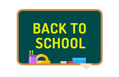 class room: Back to school background.  Cute vector cartoon class room board. School objects, school uniform, university, board and chalk, preschool and education, small kids, teens, kids tools. Welcome to school background.