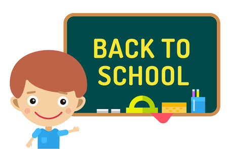 bag cartoon: Back to school background.  Cute vector cartoon boy staying near class room board. School uniform, university, board and chalk, preschool and education, small kids, teens, smile face, people silhouette, abstract people kids. Welcome to school background. Illustration