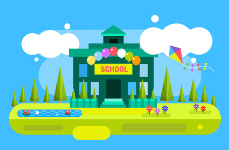 school illustration: Back to school background. Cute vector cartoon school building illustration. School uniform, garden nature, outdoor and university building, preschool and education, small kids, teens, students. Welcome to school background.