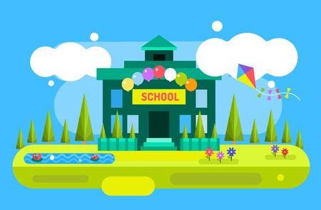 Retour au fond de l'école. Illustration de bâtiment école de dessin animé de vecteur mignon. Uniforme scolaire, jardin nature, bâtiment extérieur et universitaire, école maternelle et éducation, petits enfants, adolescents, étudiants. Bienvenue dans le milieu scolaire. Vecteurs