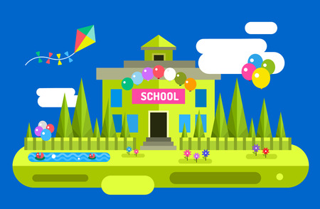 university building: Back to school background. Vector school building illustration. Outdoor. School uniform, university building, preschool and education, school kids, teens. Welcome to school background. Illustration