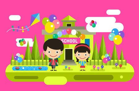 school uniforms: Cute vector cartoon boy and girl playing near school building. School uniform, university building, education, school kids, teen. Back to school background. Welcome to school Illustration