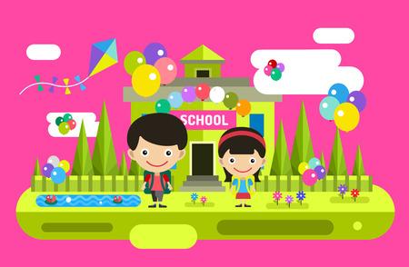 back icon: Cute vector cartoon boy and girl playing near school building. School uniform, university building, education, school kids, teen. Back to school background. Welcome to school Illustration