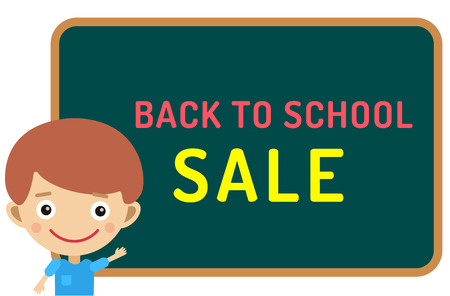 staying: Cute vector cartoon boy staying near classroom board. Back to school background.  School uniform, university, board and chalk, education, school kids, teens, people silhouette. Welcome to school