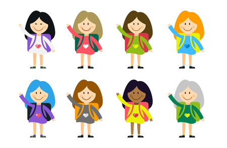 university building: Cute vector cartoon girls from different countries playing on white. School uniform, university building, education, school kids, teens. Welcome to school. Back to school background.