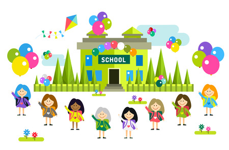 school uniform: Cute vector cartoon girls from different countries playing near school building. School uniform, university building, education, school kids, teens. Welcome to school. Back to school background