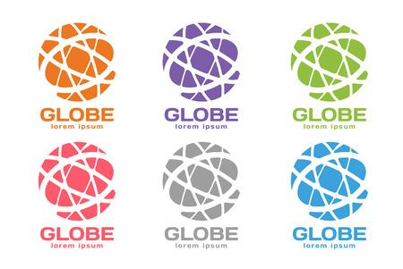 ベクトル抽象地球丸ロゴ設計。地球ロゴ。地球ロゴのアイコン。抽象的な流れのロゴのテンプレート。ラウンド形状と無限ループのシンボル、テク  イラスト・ベクター素材