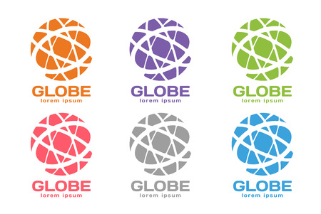 earth globe: Vector abstract earth circle logo design. Earth logo. Globe logo icon. Abstract flow logo template. Round ring shape and infinity loop symbol, technology icon, geometric logo. Company logo design
