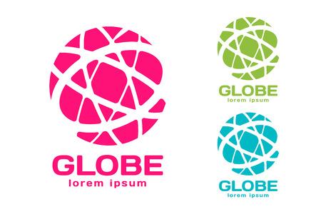 globo terraqueo: Vector abstracto de la tierra círculo diseño del logotipo. Logotipo de la Tierra. Globe icono logotipo. Modelo abstracto del logotipo de flujo. La forma redonda del anillo y el símbolo de bucle infinito, icono de la tecnología, logotipo geométrica. Diseño de logotipo de la empresa