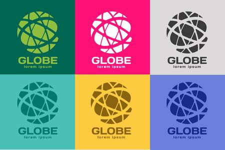 wereldbol: Bol . Wereldbol icoon. Globe vector. Globe illustratie. Globe silhouet. Abstracte wereld. Gekleurde wereld. Globe pictogrammen instellen. Orbit buurt wereld. Star wereld Stock Illustratie