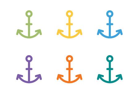 ancla: Icono del vector del ancla. Ancla de mar. Marinero del tatuaje del ancla, s�mbolo de ancla. Empresa ancla. Ancla iconos conjunto plana. Ancla del vintage plantilla de estilo antiguo. Forma Retro ancla