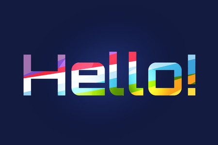 hello: Stylish line vector background with written text Hello. Hello tag, hello quote, hello word text, letters. Hello badge or sticker. Hello some name template. Banner text Hello Illustration