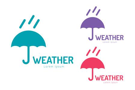 meteo: Vector ombrello. Icona, ombrello colorato isolato, insieme, ombrello e pioggia simbolo, sagoma ombrello, ombrelli icona del tempo, elemento di interfaccia ombrello Vettoriali