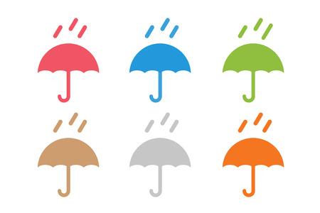 벡터 우산입니다. 우산 아이콘, 고립 된 컬러 우산, 우산 세트, 우산과 비 기호, 우산, 실루엣, 모양, 우산 날씨 아이콘, 우산 인터페이스 요소 일러스트