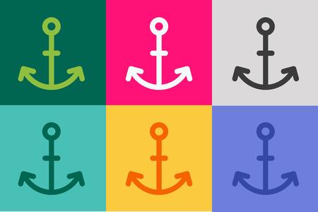 ancre marine: Anchor vecteur icône. Ancre mer. Sailor tatouage d'une ancre, symbole d'ancrage. Compagnie Anchor. Anchor Icons Set plat. Vintage ancre de modèle de style ancien. Forme de rétro ancrage