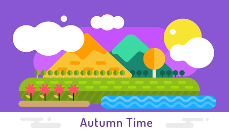 horizon over land: Autumn vector background. Autumn cartoon style background. Yellow autumn colors. Autumn landscape illsustration. Autumn leaves, trees, mountains. Outdoor Autumn