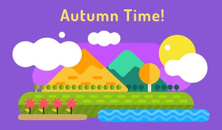 autumn colors: Autumn vector background. Autumn cartoon style background. Yellow autumn colors. Autumn landscape illsustration. Autumn leaves, trees, mountains. Outdoor Autumn