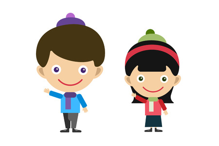 child studying: Vector cute cartoon boy and girl. Girl, boy isolated. Shool kids, season uniform. Kids together. Kids background. Children vector people. Vector kids, teens, smile face, kids people silhouette