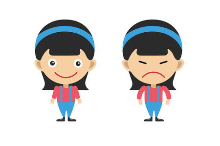 벡터 귀여운 만화 소녀입니다. 아이 소녀입니다. Shool 아이, 시즌 유니폼. 함께 아이. 어린이 배경. 아이들은 사람들을 벡터. 벡터 어린이, 청소년, 미소
