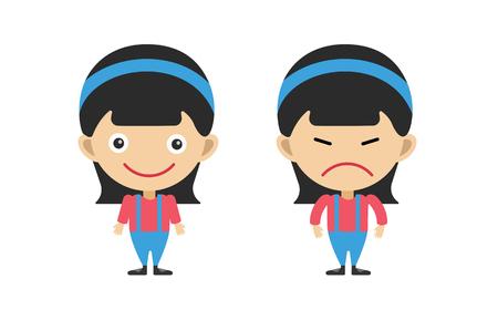 Chica de dibujos animados lindo de vector Kid niña aislada. Niños de la escuela, uniforme de temporada. Niños juntos Fondo de niños Niños vector personas. Vector niños, adolescentes, cara de sonrisa, silueta de personas niños