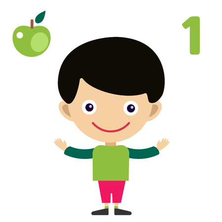 math cartoon: Vector cartoon boy learning game card. Education math cards with fruits and vegetables. Kids boy help to kids learning numbers. Kids school materials. Easy count game Stock Photo