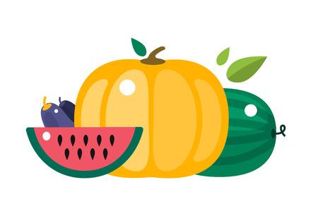 harvest background: Harvest time vector illustration. Harvest fruits and vegetables. Harvest basket and harvest isolated objects. Harvesting. Harvest background vector. Harvest  autumn season.
