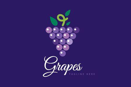 uvas: Aislado Uvas vector. Uvas icono. Uvas logotipo. Uvas vino o uva vid. Uvas con hojas verdes aisladas. Naturaleza uvas logotipo. Vino o vid logo icono. Frutas y vegetales. Foto de archivo