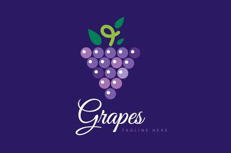 grapes wine: Grapes vector isolated. Grapes icon. Grapes logo. Grapes wine or grapes vine. Grapes with green leaf isolated. Nature grapes logotype. Wine or vine logo icon. Fruits and vegetables. Stock Photo