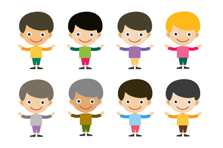 brothers: Vector cute cartoon boys brothers. Kids boy isolated. Small kids, schildren clothes. Kids posing. Kids background. Children vector people. Vector kids, teens, smile face, kids people silhouette Illustration