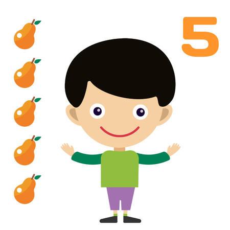 education help: Vector cartoon boy learning game card. Education math cards with fruits and vegetables. Kids boy help to kids learning numbers. Kids school materials. Easy count game Illustration