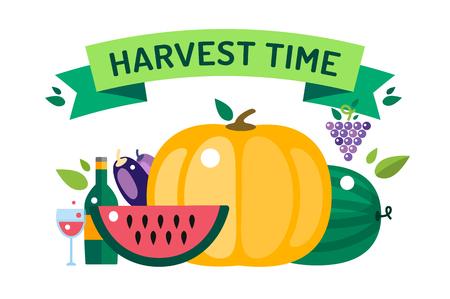 izole nesneleri: Harvest time vector illustration. Harvest fruits and vegetables. Harvest basket and harvest isolated objects. Harvesting. Harvest background vector. Harvest  autumn season.