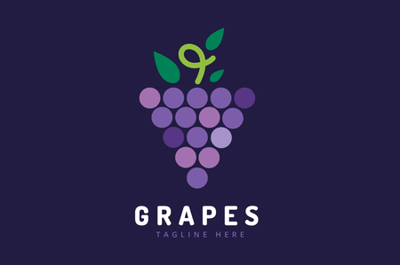 grapes on vine: Grapes vector isolated. Grapes icon. Grapes logo. Grapes wine or grapes vine. Grapes with green leaf isolated. Nature grapes logotype. Wine or vine logo icon. Fruits and vegetables. Illustration
