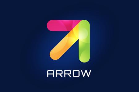 flecha: Vector icono de la flecha. Flecha abstracta logotipo de la plantilla. Flecha arriba, flecha del cursor icono, puntas de flecha. Flecha marcador y din�mico s�mbolo de la flecha. Arrow aislado. Arrow vector logo. Logotipo de la empresa Flecha