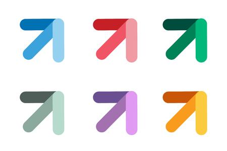 flecha direccion: Vector icono de la flecha. Flecha abstracta logotipo de la plantilla. Flecha arriba, flecha del cursor icono, puntas de flecha. Flecha marcador y dinámico símbolo de la flecha. Arrow aislado. Arrow vector logo. Logotipo de la empresa Flecha