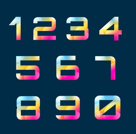 nombres: Num�ros de 1-9 lettres vecteur. Num�ros logo icons set. Num�ros symboles silhouette. Num�ros isol�s ic�nes. Lettre de style de ligne, les num�ros modernes. Num�ros de nombre r�gl� Illustration
