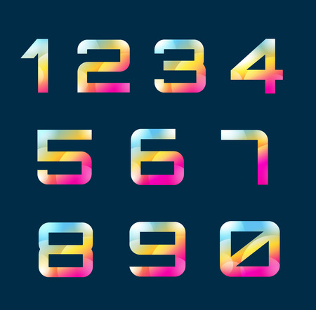 numbers abstract: Numbers 1-9 letters vector. Numbers logo icons set. Numbers symbols silhouette. Numbers isolated icons. Line style letter,  modern numbers. Count numbers set