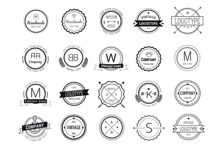 Massive logo badges template bundle. Logo set. Old style and modern flat icons. Vintage retro style. Arrows, labels, ribbons, decor, shield logo, knight logo, premium quality vector. Logo design. Retro style Çizim