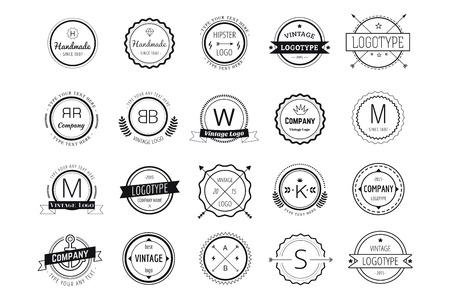 Massive logo badges template bundle. Logo set. Old style and modern flat icons. Vintage retro style. Arrows, labels, ribbons, decor, shield logo, knight logo, premium quality vector. Logo design. Retro style Ilustrace