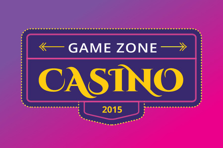 game show: Casino logo icon. Casino poker, cards or casino game and money. Casino vector icons. Casino games. Casino cards. Banner with casino logo badges. Game cards. Playing casino games. Casino banner Illustration