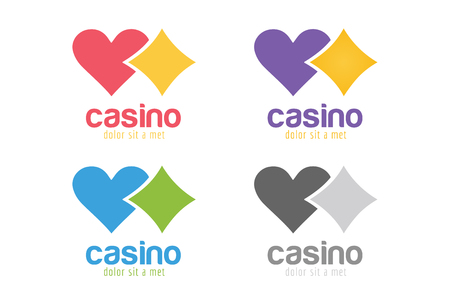 casino chip: Casino logo icon. Casino poker, cards or casino game and money. Casino vector icons. Casino games. Casino cards. Banner with casino logo badges. Game cards. Playing casino games. Casino banner Illustration
