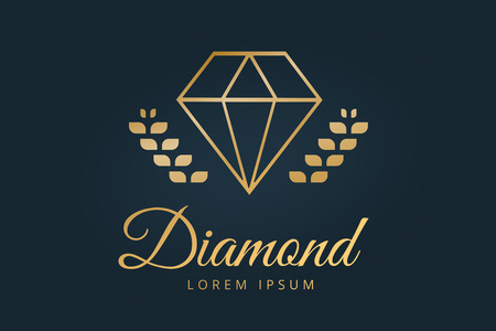 diamond background: Vintage old diamond logo. Diamond icon template. Vintage retro style diamond.  Jewelry labels, ribbons, decor, ornament. Premium quality diamond vector. Diamond logo design. Retro style Illustration