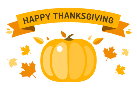 happy family nature: Thanksgiving day illustration. Thanksgiving card. Thanksgiving  background or banner. Thanksgiving  pumpkin vector silhouette. Thanksgiving with leaves falling background. Yellow and orange colors