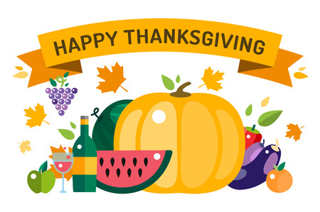 thanksgiving day: Thanksgiving day illustration. Thanksgiving card. Thanksgiving  background or banner. Thanksgiving  pumpkin vector silhouette. Thanksgiving with leaves falling background. Yellow and orange colors
