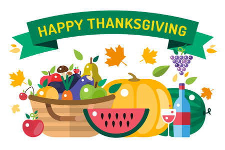 harvest: Thanksgiving day illustration. Thanksgiving card. Thanksgiving  background or banner. Thanksgiving  pumpkin vector silhouette. Thanksgiving with leaves falling background. Yellow and orange colors