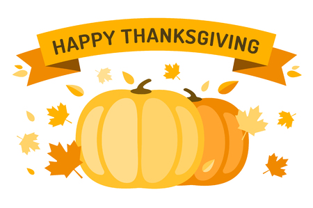 leaves falling: Thanksgiving day illustration. Thanksgiving card. Thanksgiving  background or banner. Thanksgiving  pumpkin vector silhouette. Thanksgiving with leaves falling background. Yellow and orange colors